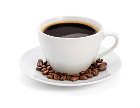 흰색 배경에 커피 컵, 절연