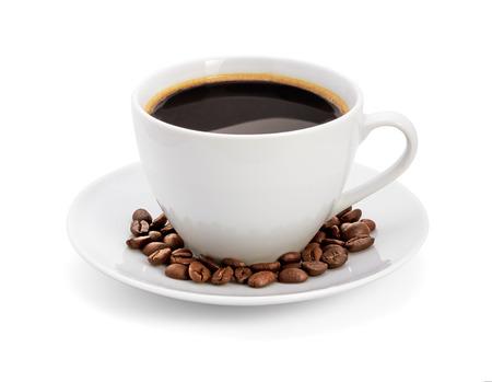 Kopje koffie, op een witte achtergrond, geïsoleerd Stockfoto