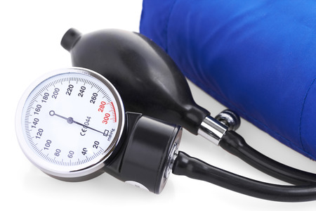 blood pressure monitor: tonometer on a white background, isolated Stock Photo