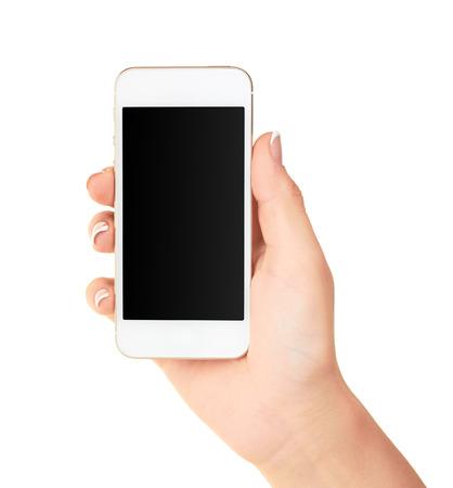 白で隔離、空白の画面を持つモバイルのスマート フォンを持っている手