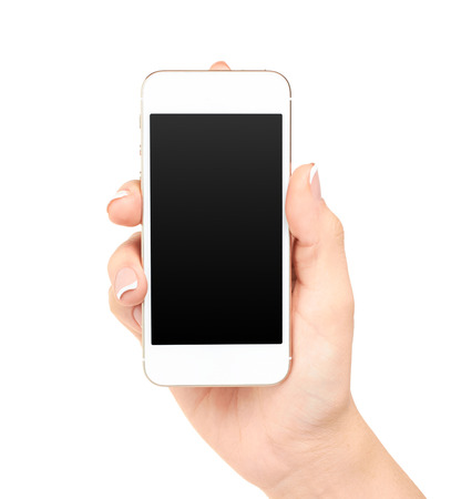 Hand holding mobile smart phone with blank screen, isolated on white 版權商用圖片