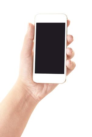 화이트 절연 빈 화면이있는 모바일 스마트 폰을 들고 손