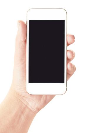 , 빈 화면, 모바일 스마트 휴대 전화를 들고 손을 흰색으로 격리