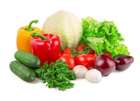 Vegetables isolated on white background photo
