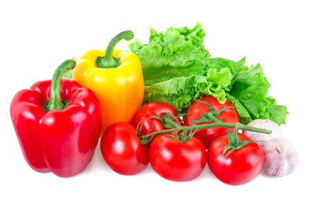 vegetables closeup on white background, isolated photo