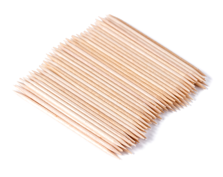 Wooden toothpicks on white background isolate photo