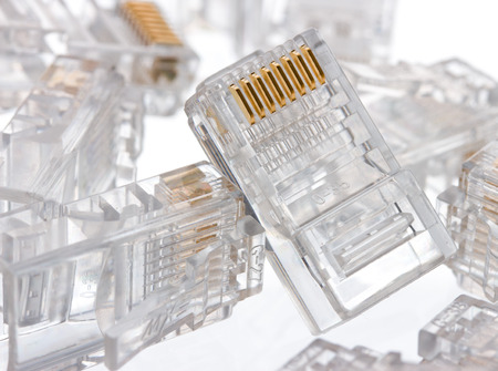 rj 45: Connector rj-45 close-up on white background isolate