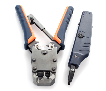 crimping: Crimping tool for twisted pair on a white background, isolated