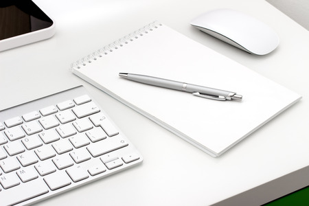 writing pad: Workplace with notepad and keyboard, mouse