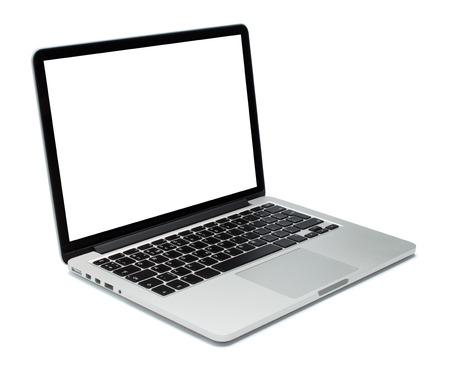 白い背景の上のノート パソコンのクローズ アップ