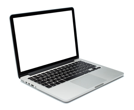 Laptop closeup on white background Foto de archivo