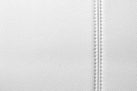cuero vaca: Textura de cuero blanco, costura, primer plano