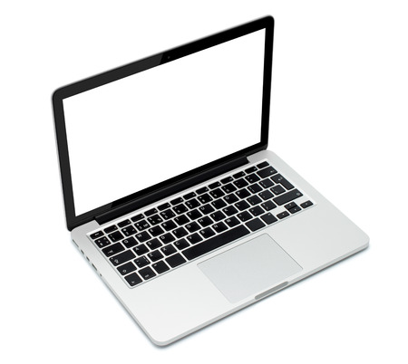 Laptop closeup on white background Imagens