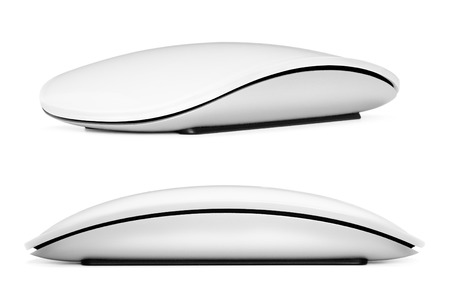 keyboard and mouse: Computer mouse on a white background, close-up Stock Photo