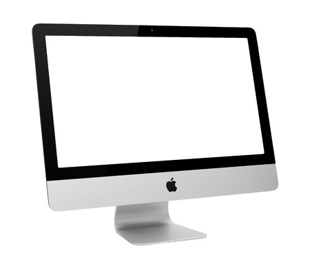 personal computers: UFA, RUSSIA - MAY 7 , 2014: Photo of new iMac, With OS X Yosemite. iMac - monoblock series of personal computers, created by Apple Inc.