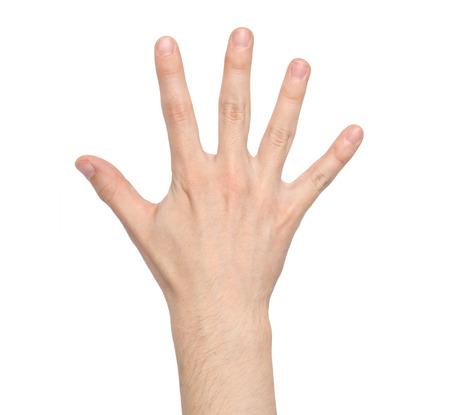 Signe de la main de l'homme isolé sur fond blanc Banque d'images - 34192050