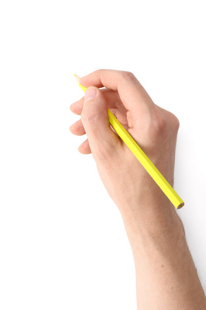 man's thumb: Mens hand with a pencil on a white background
