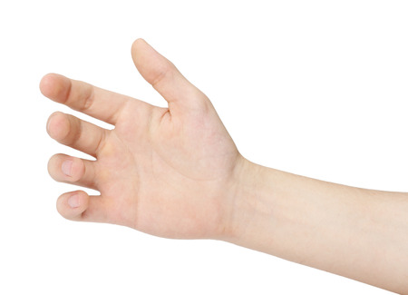 Hand of a man to hold card, mobile phone, tablet PC or other palm gadget, isolated