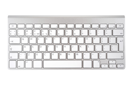 computer keyboard keys: Aluminum computer keyboard isolated on white background