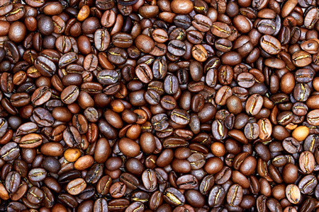 caffiene: Coffee beans close-up view from above Stock Photo