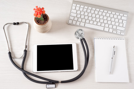 doctor tablet: Tablet touch pad computer is in the doctor office