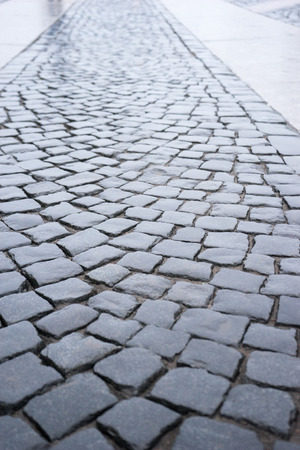 cobbled: Cobbled street in St. Petersburg, Russia