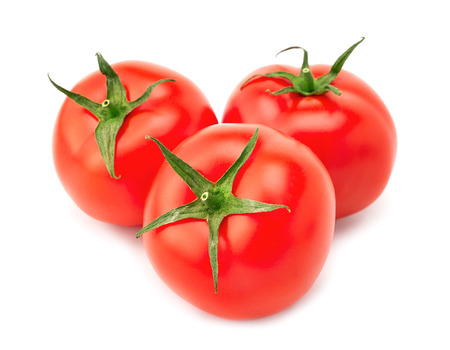 Fresh red tomato with green stem on white background Imagens