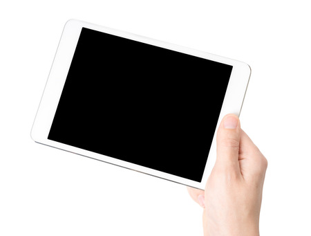 White tablet pc in his hand, closeup, isolated