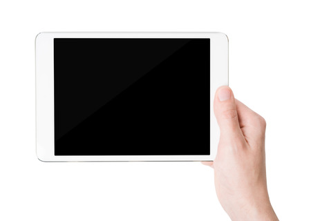 White tablet pc in his hand, closeup, isolated photo