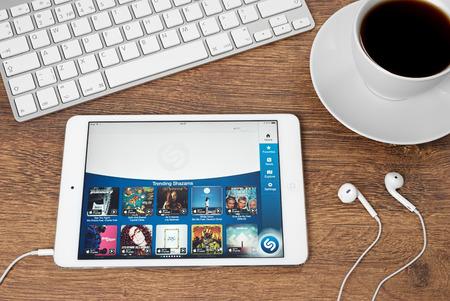 Ufa, Russia - May 04, 2015: iPad mini 2 with music service Shazam on the screen. iPad mini 2 was created and developed by the Apple inc.