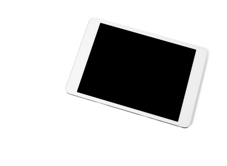 White tablet pc, closeup, isolated photo