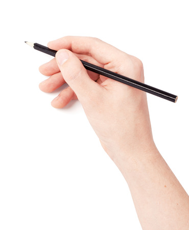 Hand with pencil writing something isolated on white background