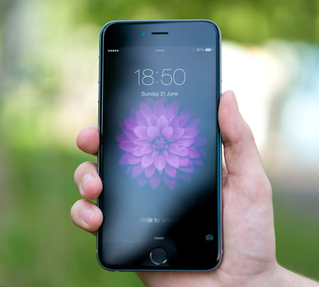 six: UFA, RUSSIA - JUNE 21, 2015: New iPhone 6 Plus is a smartphone developed by Apple Inc. Apple releases the new iPhone 6 Plus