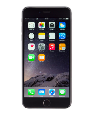UFA, RUSSIA - JUNE 26, 2015: New iPhone 6 Plus is a smartphone developed by Apple Inc. Apple releases the new iPhone 6 Plus