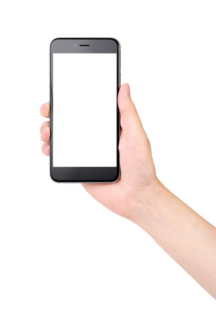 hand holding phone: Phone in hand on white background, isolated