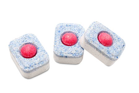 scour: Dishwasher tablets on white background isolated