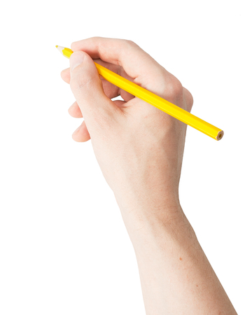 person writing: A hand holding a pencil on white background