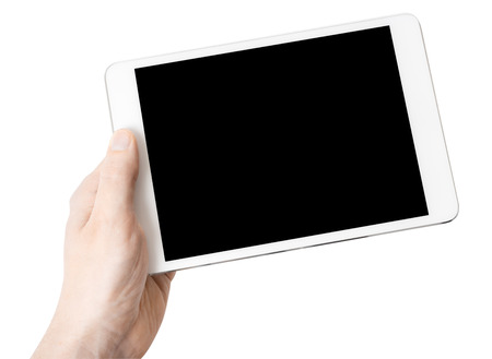 one: Digital tablet in one hand, on a white background, isolated