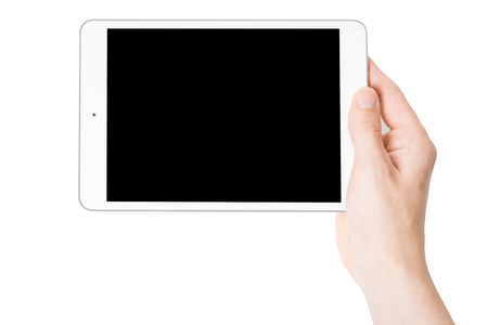 one teenager: Digital tablet in one hand, on a white background, isolated