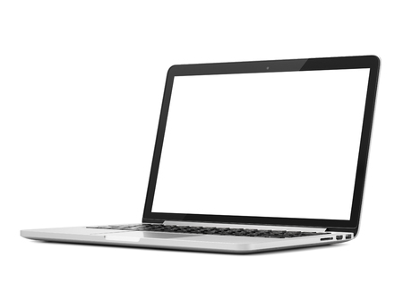 Laptop close-up on white background, isolated Foto de archivo