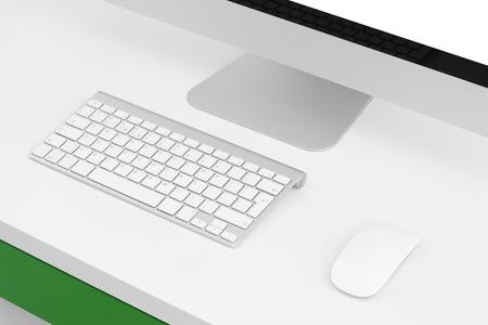 myszy: Komputer, na białym stole, zbliżenie, monitora, klawiatury i myszy
