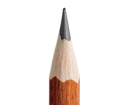 sharpen: Pencil point close-up on white background