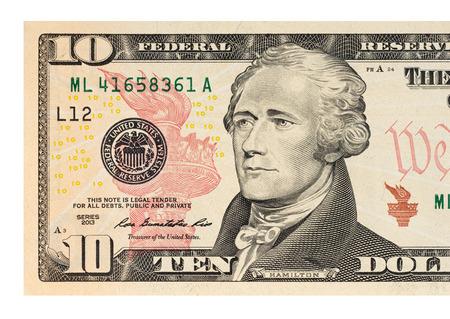 money notes: Macro shot of a 10 dollar