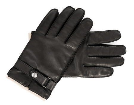 Pair of mens black leather gloves isolated