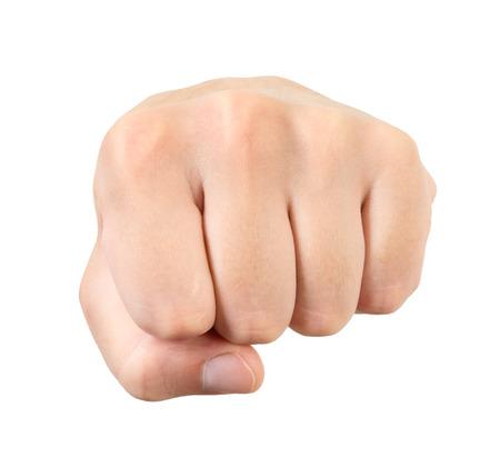 男の拳が白い背景で隔離