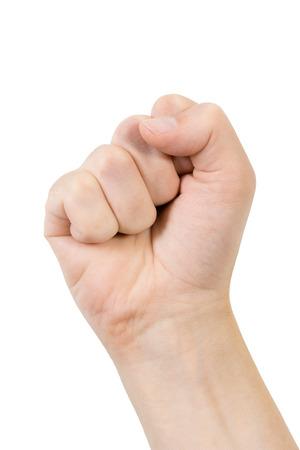 imminence: Mano comprimido en un puño sobre un fondo blanco, gesto