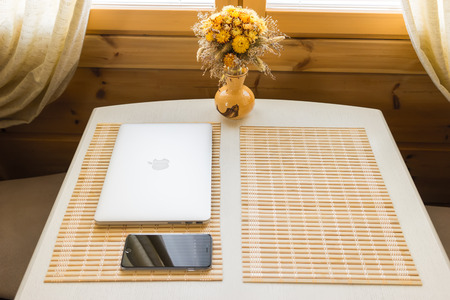 macbook pro: MOSCOW, RUSSIA - JANUARY 23, 2016: The laptop on the table of the Apple MacBook Pro. MacBook Pro - omputers, created by Apple Inc. Editorial