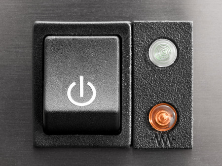 The power button, close-up Stock Photo