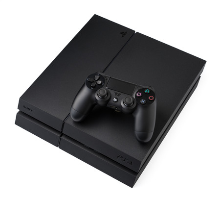 playstation: Ufa, Russia - 27 February, 2016: Sony PlayStation 4 game console of the eighth generation. Sony PlayStation 4 1Tb revision (CUH-1216B) Editorial