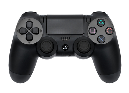 Ufa, Russia - 27 February, 2016: The new Sony Dualshock 4 with PlayStation 4. Sony PlayStation 4 game console of the eighth generation.